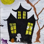Halloween Window Painting - Spooky House (jpg)
