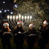 Light the Dale Carolers in front of Tree and Menorah (jpg)
