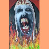 "Winning Halloween Window Painting - ""Evil Face"""