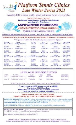2020/2021 Late Winter Platform Tennis Clinic series flyer