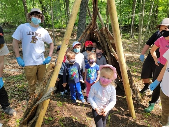 shelter building in the woodlands, WNCFS Spring 2021