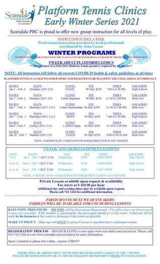 Early Winter Platform Tennis Instructional Clinic Series registration now open!