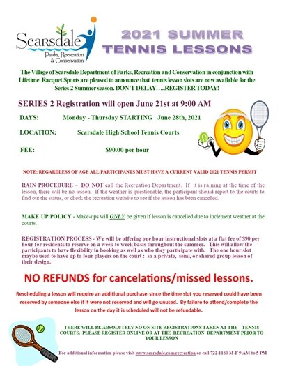 2021 Summer Individual Tennis Lesson Registration Opens Monday 6-21 at 9 AM