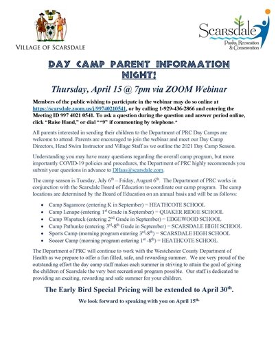 2021 Day Camp parent Information Night flyer