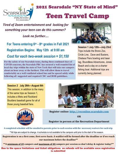 2021 Teen Travel Camp Flyer