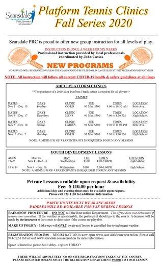 2020 Fall Platform Tennis Clinic Series