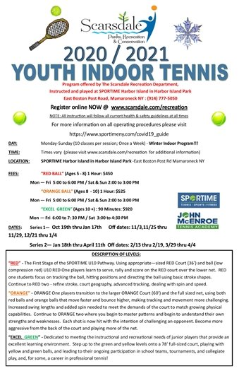 2020/2021 Youth Indoor Lessons @ Harbor Island