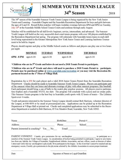 2018 Summer Youth Tennis League Registration Form