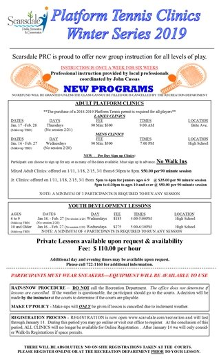 New January Platform Tennis Clinics