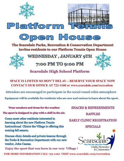 January Platform Tennis Open House