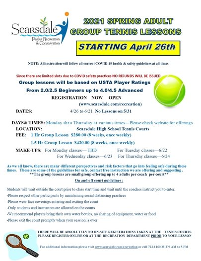 2021 Adult group Tennis Lessons flyer