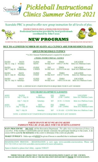 New Pickleball Clinic Registration Form