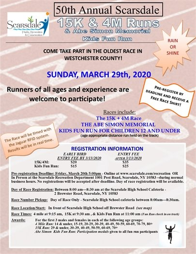 50th Annual 15K & 4 Mile Road Race registration information flyer