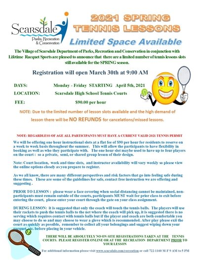 2021 Individual Tennis Lessons flyer