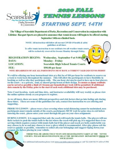 2020 Fall Outdoor Tennis Lessons now available