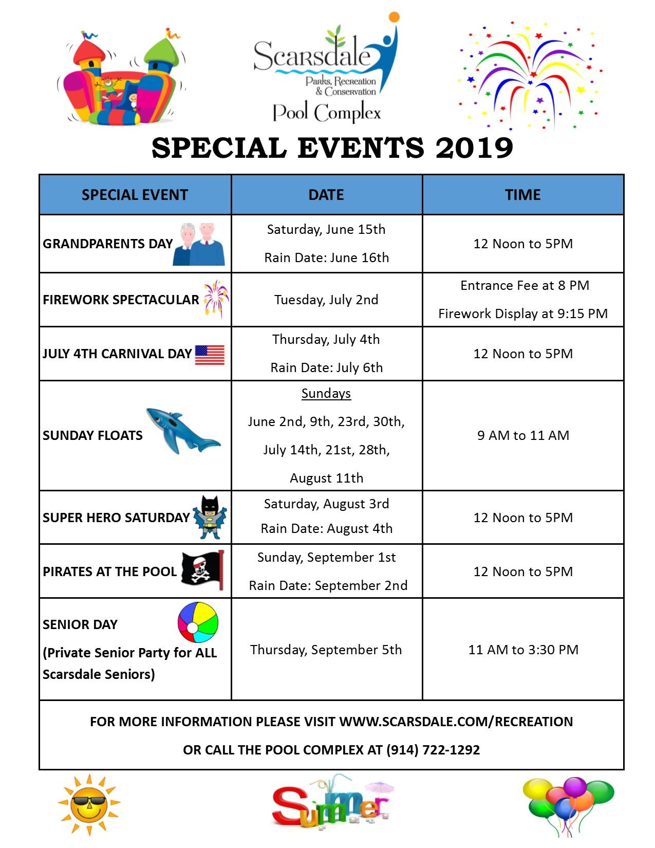 Pool Special Events 2018